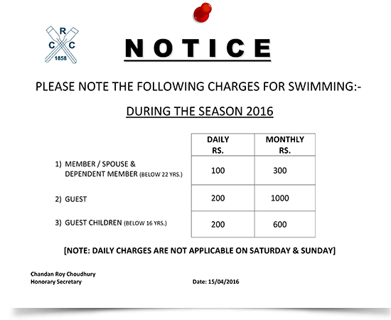 CRC's Swimming Pricing plans